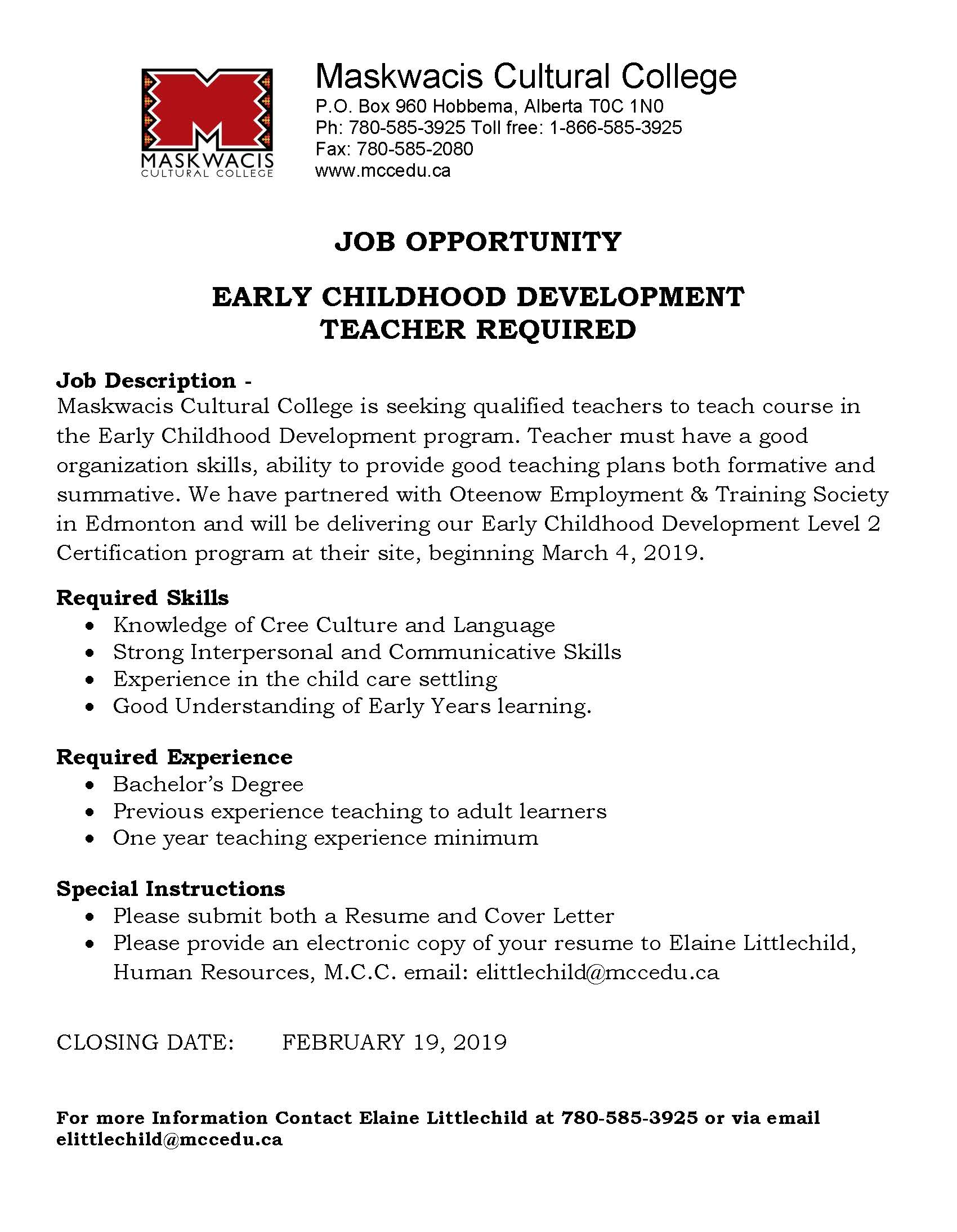 Careers at MCC | Maskwacis Cultural College